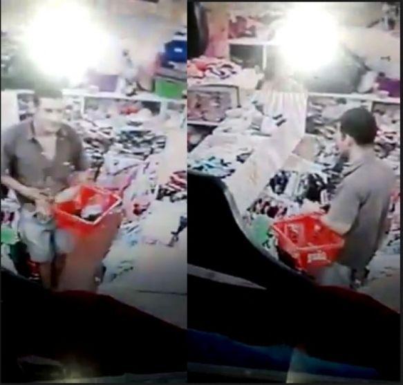 Mechero fue filmado robando prendas en una tienda de ropas