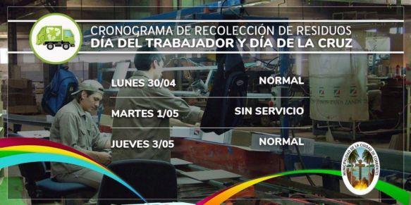 Así será el servicio de recolección hoy lunes 30 y martes 1